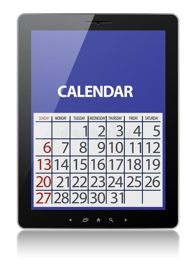 Calendario en la tablilla ilustración del vector