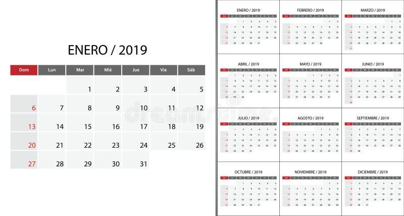 Calendario 2019 en lengua española libre illustration