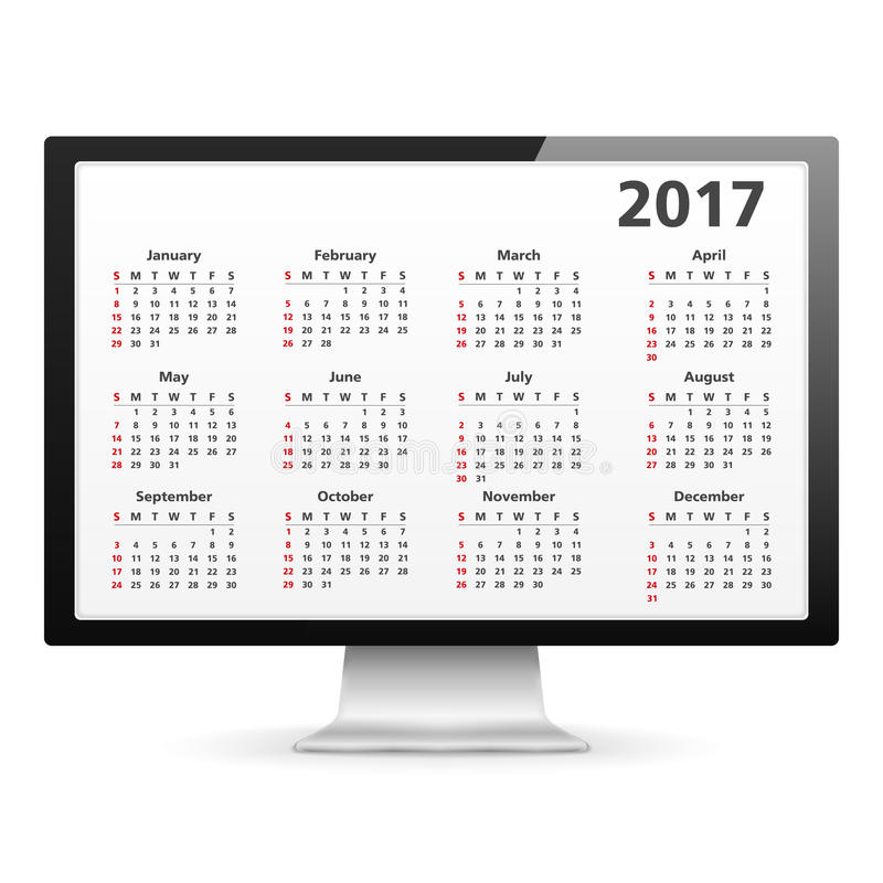 Calendario 2017 en ordenador libre illustration