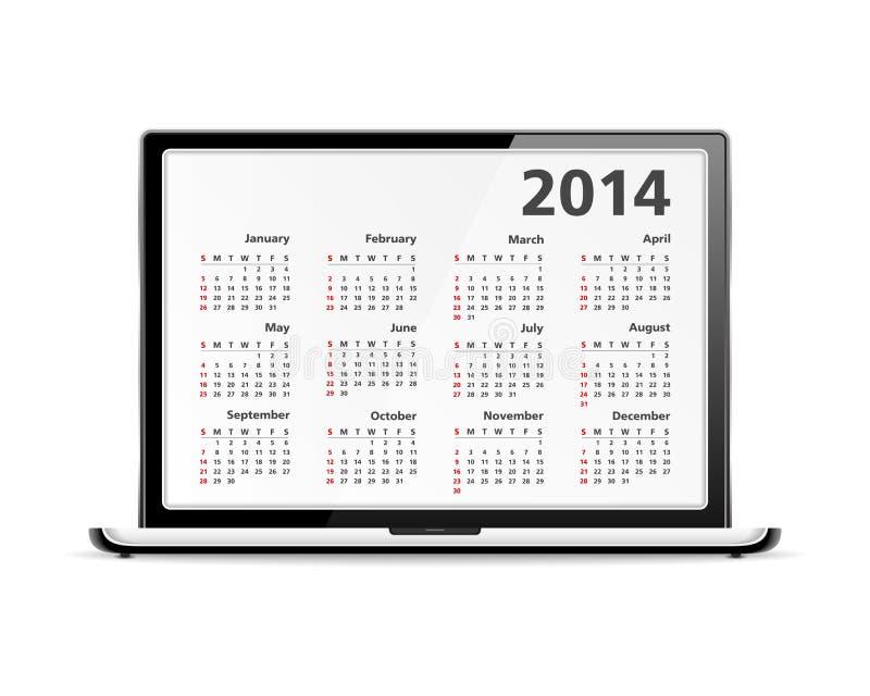Calendario 2014 en ordenador portátil stock de ilustración