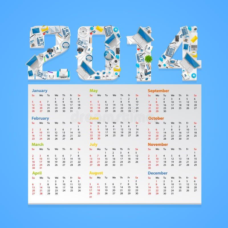 Calendario 2014 en un estilo plano. Vector libre illustration