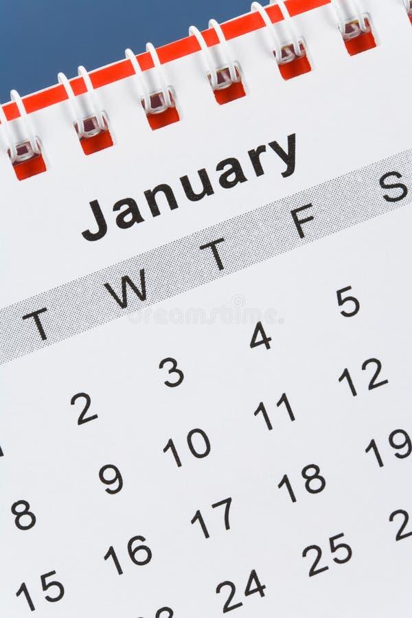 Calendario enero fotos de archivo