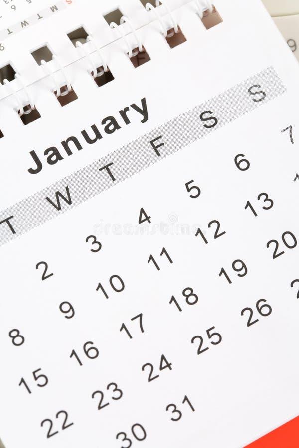 Calendario enero foto de archivo libre de regalías