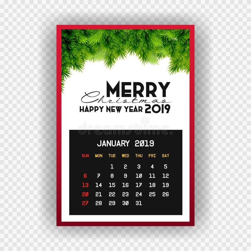 Calendario enero de la Feliz Año Nuevo 2019 de la Navidad ilustración del vector