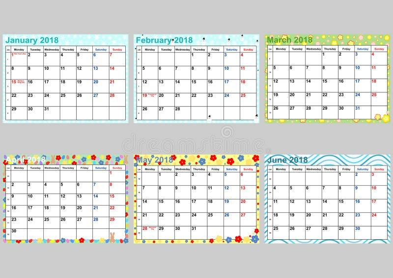 Calendario Enero A Junio Determinado Para Los E E U U
