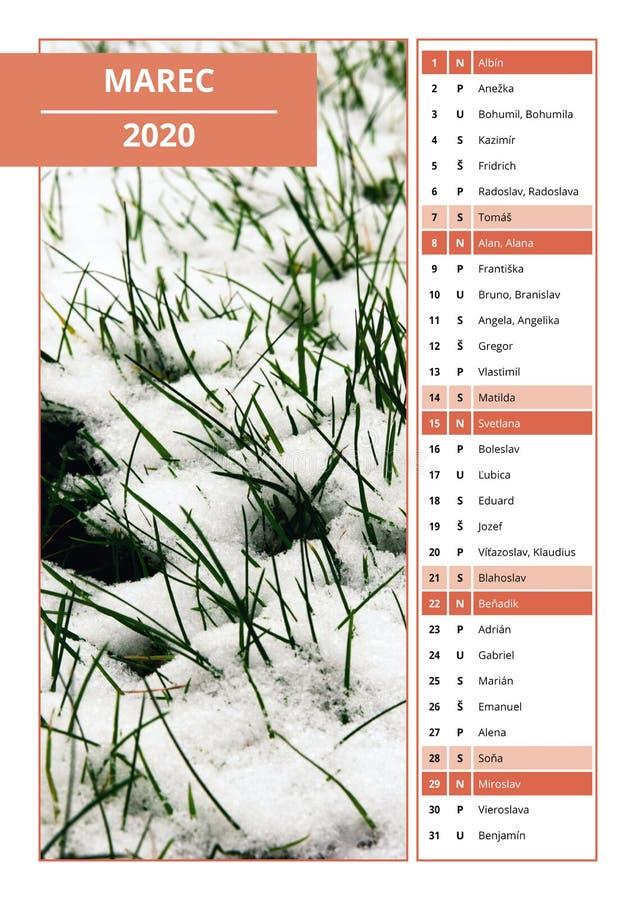 Calendario eslovaco con los nombres para marzo de 2020 imagen de archivo libre de regalías