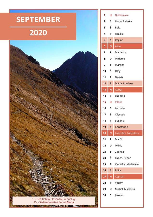 Calendario eslovaco con los nombres para septiembre de 2020 foto de archivo
