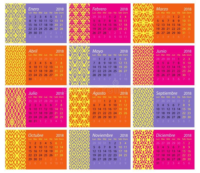 Calendario español 2018 libre illustration