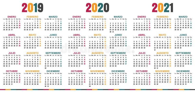 Calendario español 2019-2021 libre illustration