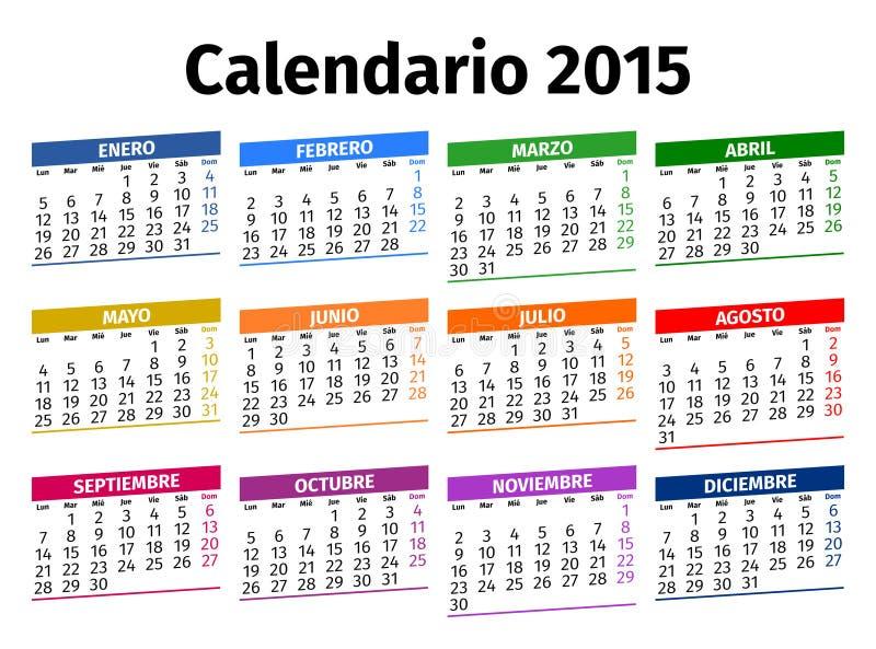 Calendario español 2015 fotos de archivo libres de regalías