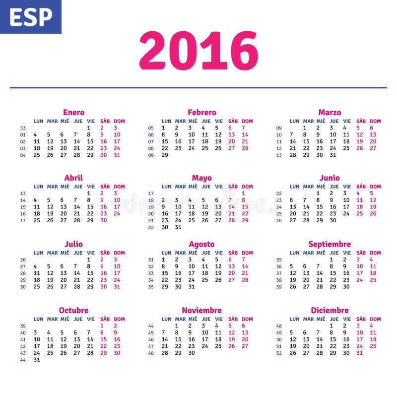 Calendario español 2016 stock de ilustración