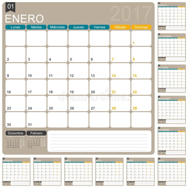 Calendario español 2017 libre illustration