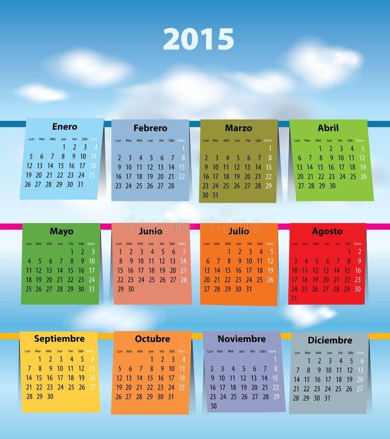 Calendario español colorido para 2015 ilustración del vector