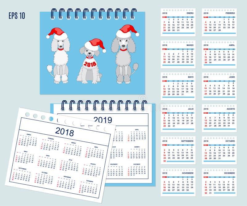 Calendario español de los niños por el año 2018,2019 de la pared o del escritorio libre illustration