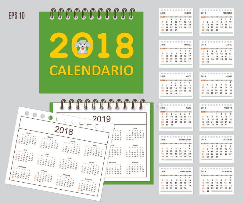 Calendario español de los niños por el año 2018, 2019 de la pared o del escritorio ilustración del vector