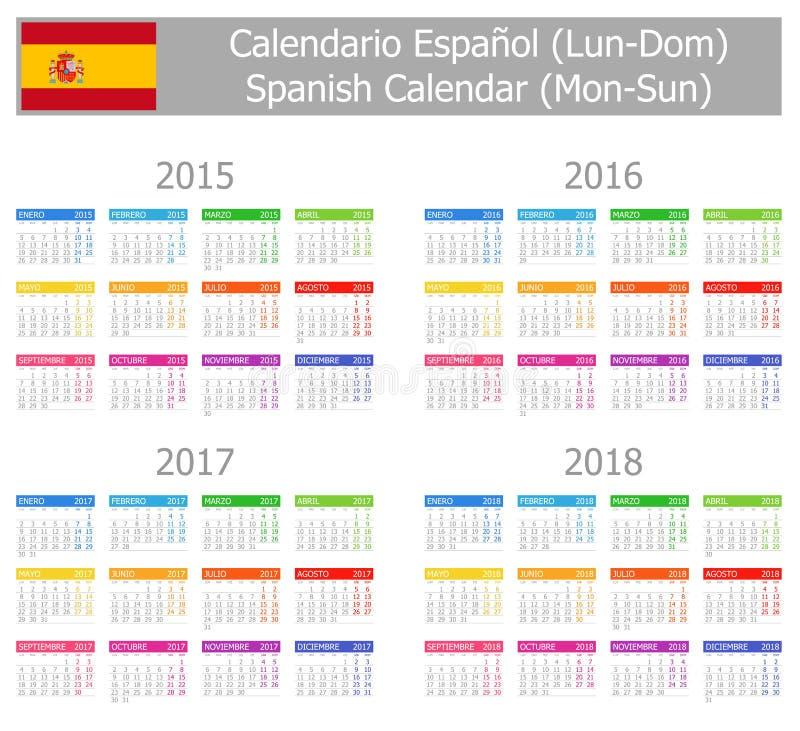 Calendario español 2015-2018 del tipo 1 Lunes-Sun stock de ilustración