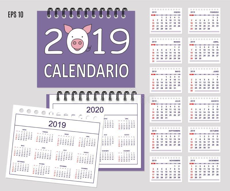 Calendario español espiral 2019 con el bozal del cerdo y el sistema de las páginas 12 ilustración del vector