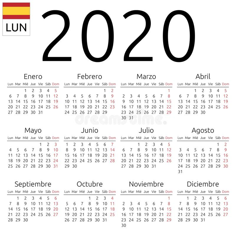 Calendario 2020, español, lunes libre illustration