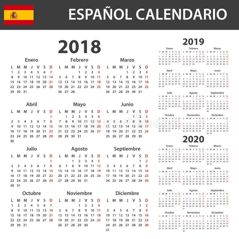 Calendario español para 2018, 2019 y 2020 Planificador, orden del día o plantilla del diario Comienzo de la semana el lunes stock de ilustración