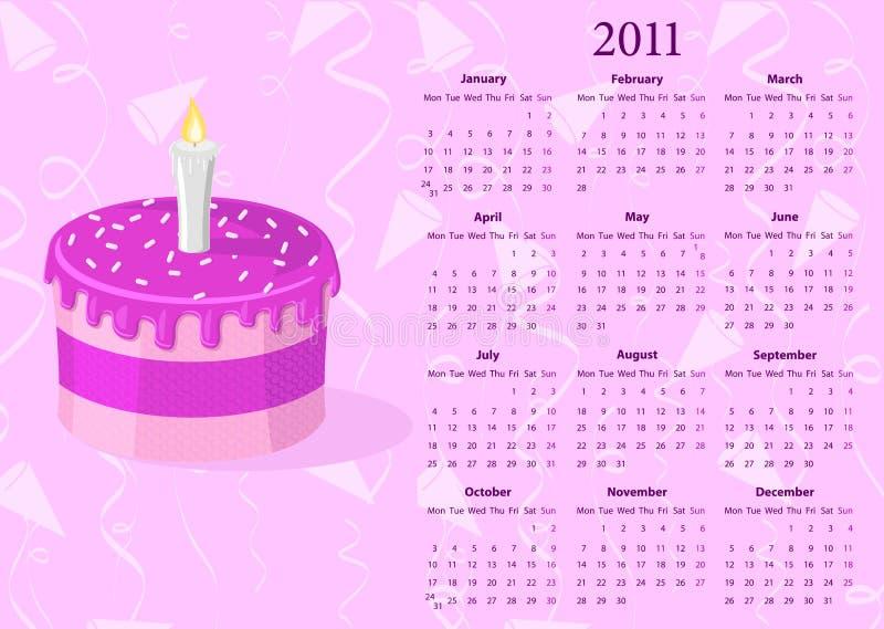 Calendario europeo 2011 di vettore con la torta illustrazione vettoriale