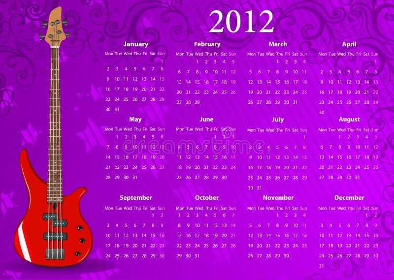 Calendario europeo 2012 di vettore con la chitarra bassa illustrazione vettoriale