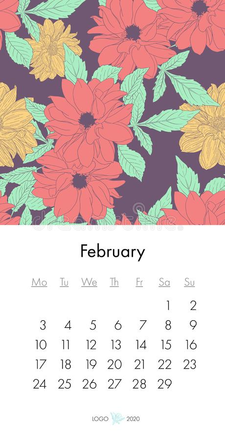 Calendario febrero de 2020 floral con la impresión de la moda Planta en el flor, rama con bosquejo de la tinta de la flor Ilustra libre illustration