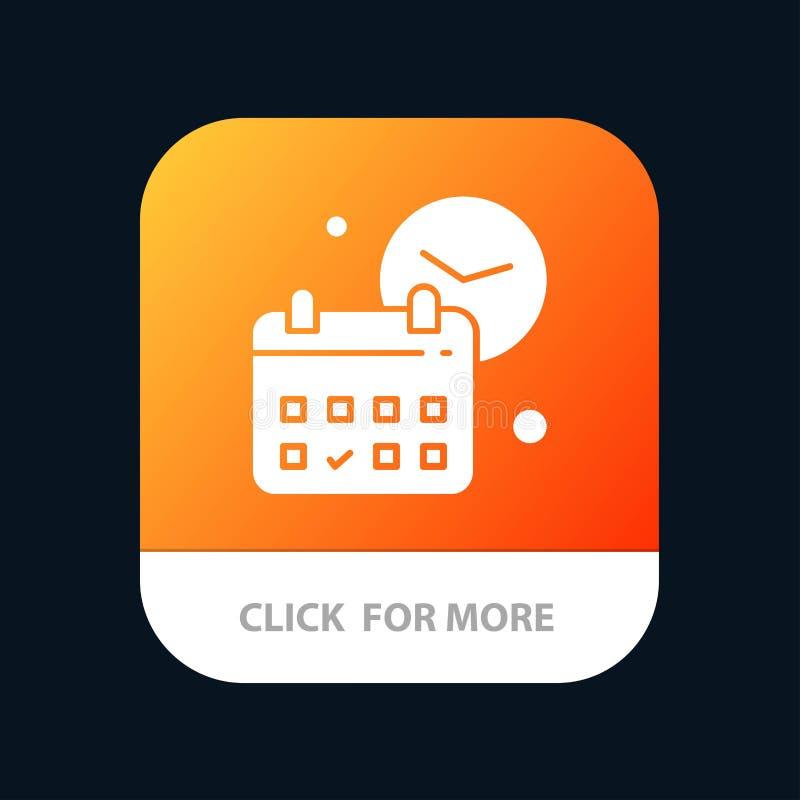 Calendario, fecha, día, tiempo, botón móvil del App del trabajo Android y versión del Glyph del IOS libre illustration