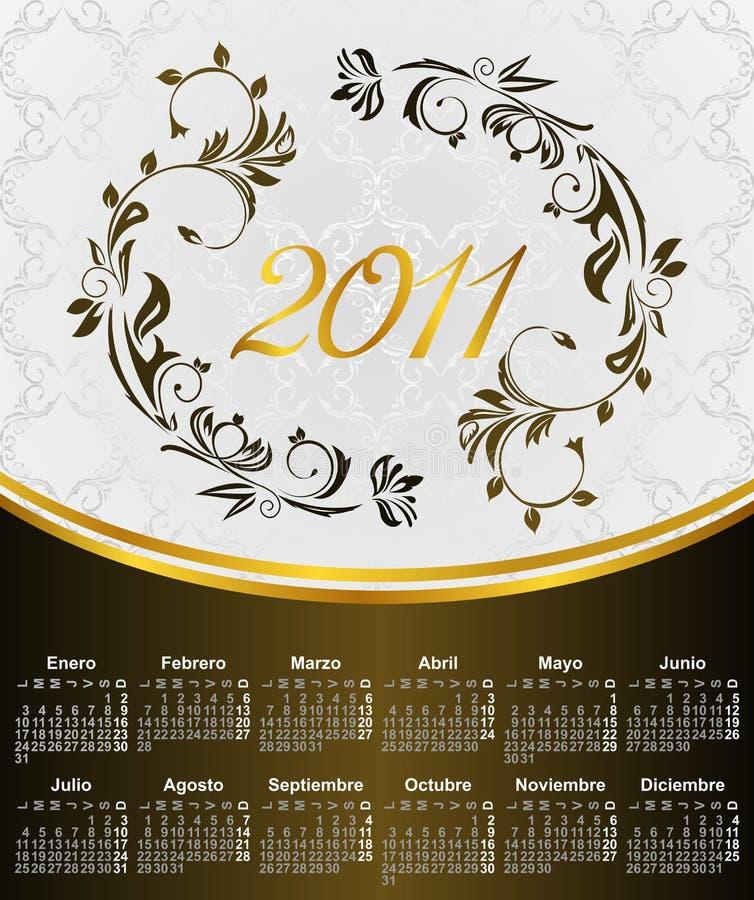 Calendario floral por el año 2011, en español libre illustration