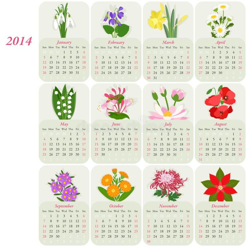 calendario floreale 2014 illustrazione vettoriale