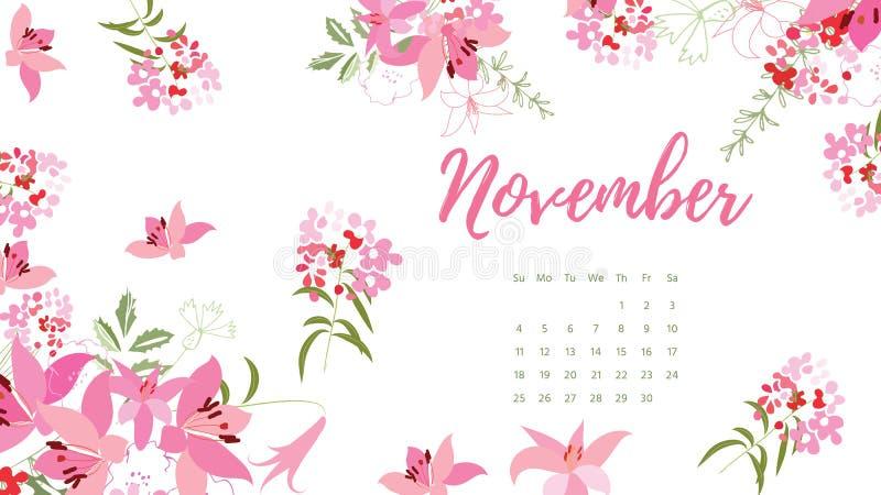 Calendario floreale d'annata 2018 royalty illustrazione gratis