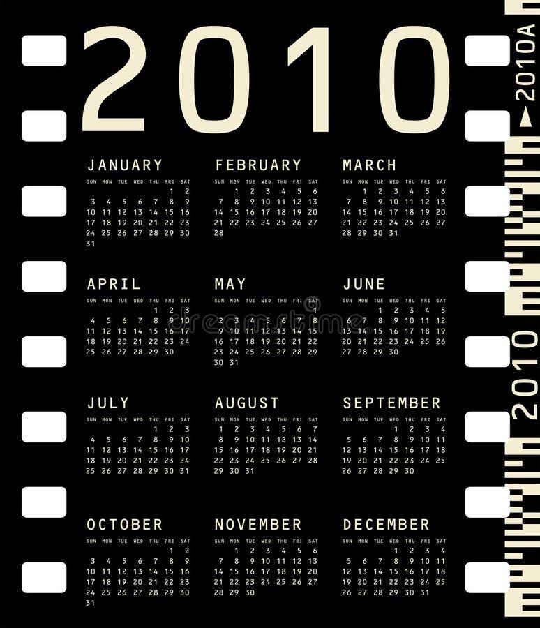 Calendario fotográfico para 2010 ilustración del vector