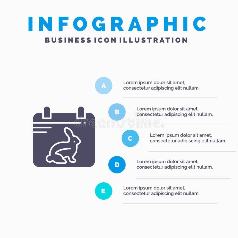 Calendario, giorno, Pasqua, fondo solido di presentazione di punti di Infographics 5 dell'icona della data illustrazione di stock