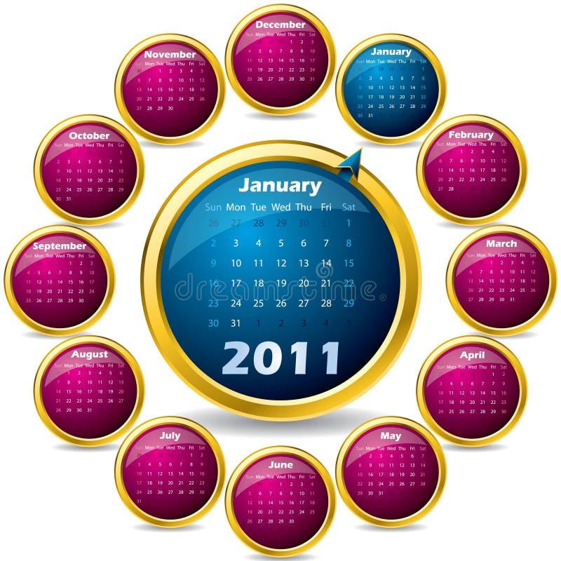 Calendario girante 2011 royalty illustrazione gratis