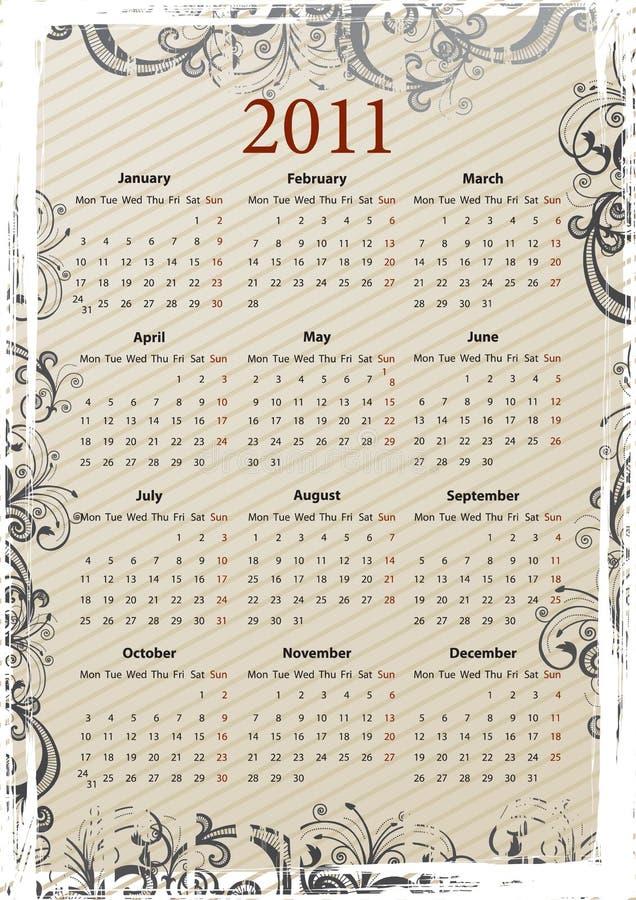 Calendario grungy 2011 di vettore europeo illustrazione vettoriale