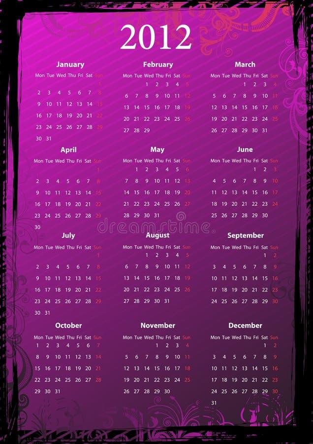 Calendario grungy dentellare floreale europeo 2012 di vettore illustrazione vettoriale