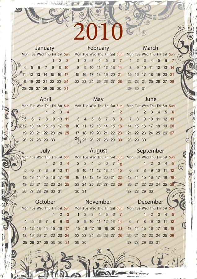 Calendario grungy di vettore europeo royalty illustrazione gratis