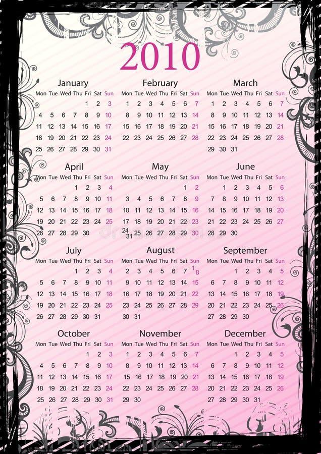 Calendario grungy floreale 2010 di vettore europeo illustrazione vettoriale