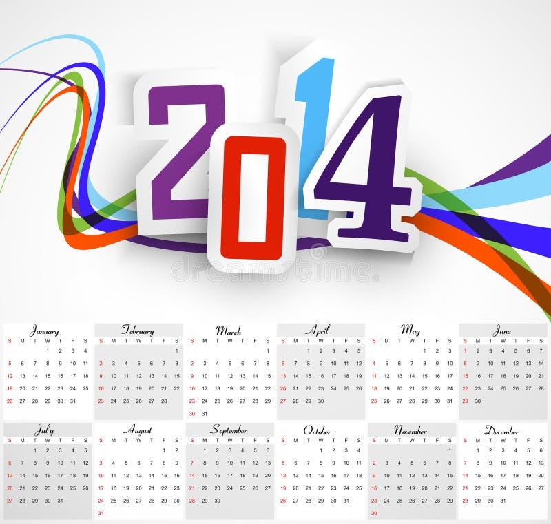 Calendario hermoso de la Feliz Año Nuevo 2014 ilustración del vector