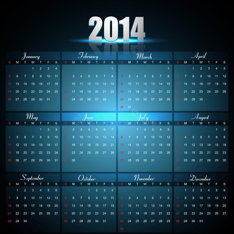Calendario hermoso para la plantilla 2014 stock de ilustración