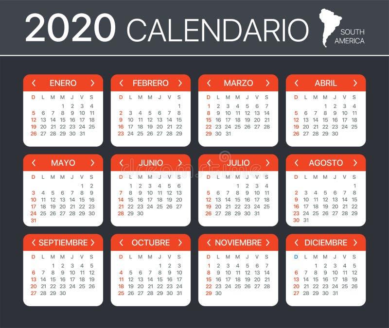 Calendario 2020 - ilustración de plantilla vectorial - Versión española de América del Sur stock de ilustración