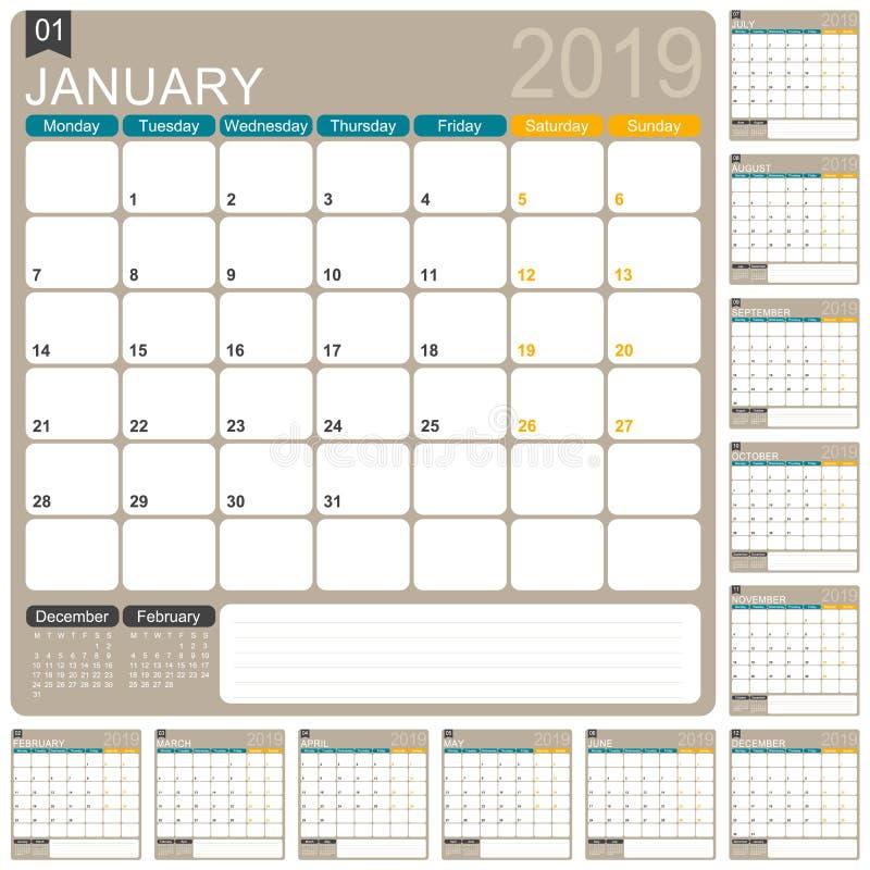 Calendario inglés 2019 ilustración del vector
