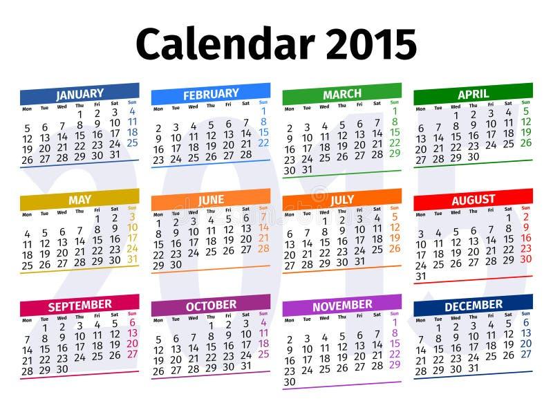 Calendario inglés 2015 imagenes de archivo