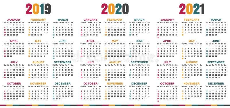 Calendario Inglese 2019 2021 Illustrazione Vettoriale