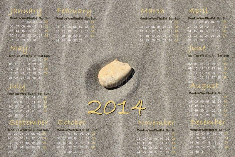 Calendario inglese 2014 con la pietra sulla sabbia illustrazione vettoriale