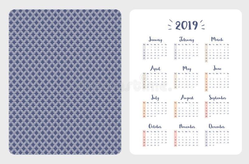 Calendario inglese semplice della tasca di vettore 2019 anni illustrazione di stock
