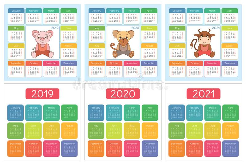 Calendario 2019, 2020, 2021 Insieme Variopinto Inglese Inizio Di