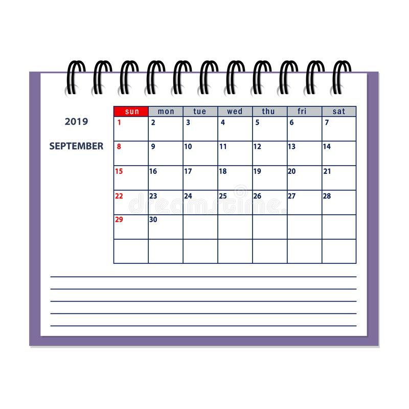 Pagina Di Calendario Settembre 2019.Settembre 2019 Pagina Del Calendario Di Anno Illustrazione