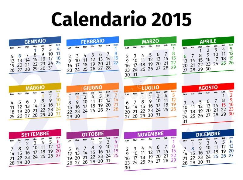 Calendario italiano 2015 fotos de archivo libres de regalías