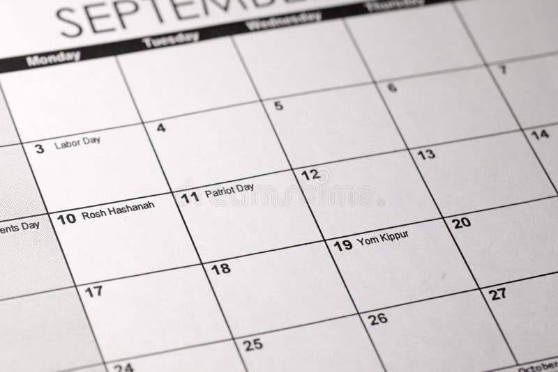 Calendario judío de Hebcal Rosh Hashanah foto de archivo