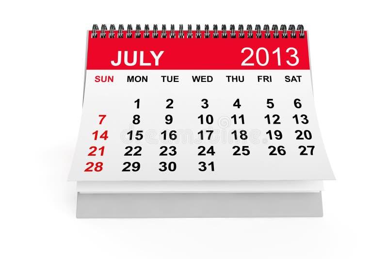 Calendario julio de 2013 ilustración del vector